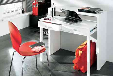 Groupon Goods Global GmbH - Two Drawer Extendable Console or Desk in White Gloss With Free Delivery - Save 77%