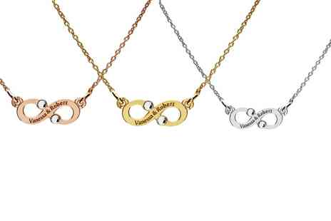 Jewells House - Personalised Silver Infinity Sign Necklaces with Crystals from Swarovski With Free Delivery - Save 75%