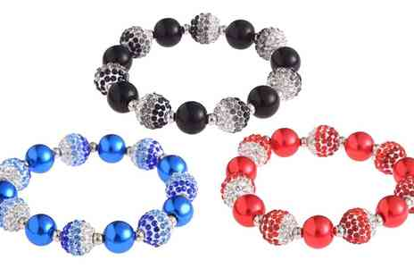 Groupon Goods Global GmbH - Pearl Fashion Crystal Disco Ball Friendship Bead Bracelet - Save 81%
