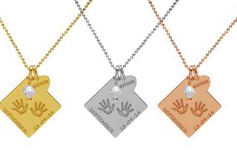 Jewells House - Personalised Sterling Silver Necklace with Palm Prints and Silver Heart With Free Delivery - Save 67%