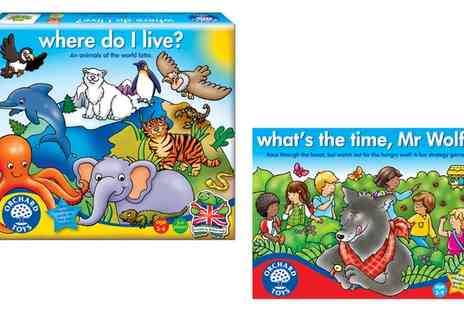 Groupon Goods Global GmbH - Orchard Toys Where Do I Live? or 'Whats the Time, Mr Wolf? - Save 11%