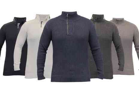 Groupon Goods Global GmbH - Crosshatch Mens Ribbed Jumper in Choice of Style, Colour and Size With Free Delivery - Save 0%