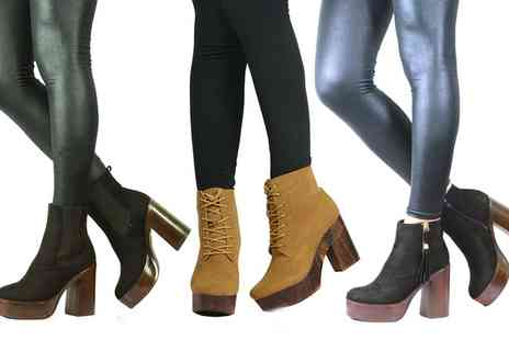 Groupon Goods Global GmbH - Womens Block Heel Ankle Boots in Choice of Style and Colour - Save 0%