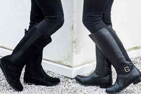 Groupon Goods Global GmbH - Womens Water Resistant Suede or Leather Riding Boots - Save 80%