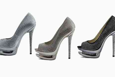 Groupon Goods Global GmbH - Peeptoe Double Platform Crystal High Heel Shoes in Choice of Colour and Size With Free Delivery - Save 57%