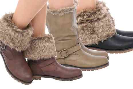 Groupon Goods Global GmbH - Womens Faux Fur Turnover Ankle Boots - Save 0%