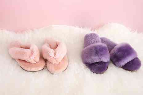 Groupon Goods Global GmbH - Womens Genuine Sheepskin Spa Slippers or Flip Flops - Save 75%