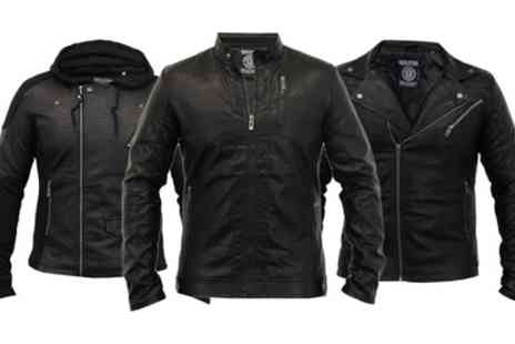 Groupon Goods Global GmbH - Mens Leather Effect Biker Jacket With Free Delivery - Save 0%