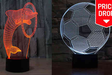 Eblacksquare - 3D Colour Changing LED Lamp in 5 Designs - Save 67%