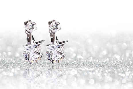 Solo Act - Pair of beautiful star double drop crystal earrings - Save 88%