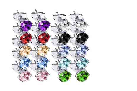The Gemseller - Pair of crystal stud earrings choose from 10 colours - Save 89%