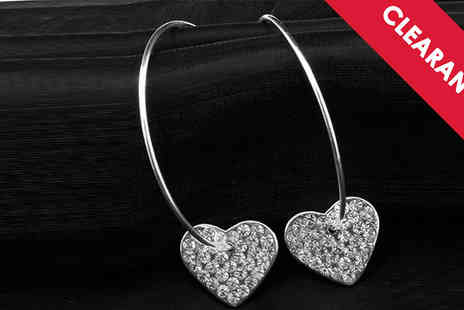 Jewellery Bank - Diamante Encrusted Heart Hoop Earrings with Free Delivery - Save 65%