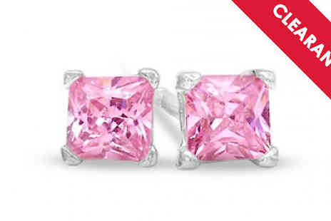 Jewellery Bank - Sterling Silver and Pink Cubic Zirconia Studs with Free Delivery - Save 53%