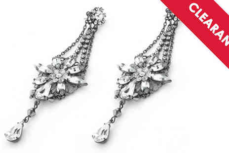 Jewellery Bank - Crystal Floral Drop Earrings Free Delivery - Save 53%