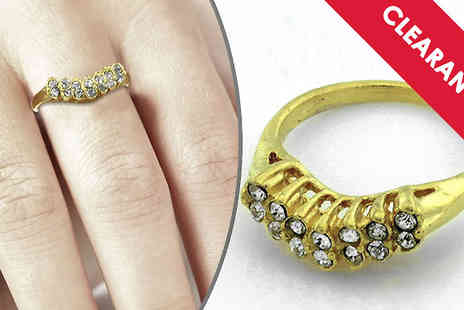 Jewellery Bank - Gold Tone V Shape Diamante Ring with Free Delivery - Save 53%