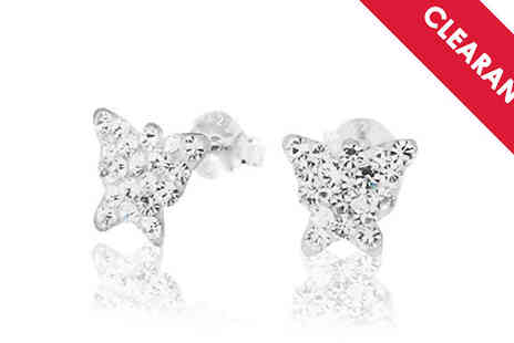 Jewellery Bank - Butterfly Sterling Silver Cubic Zirconia Earrings with Free Delivery - Save 53%