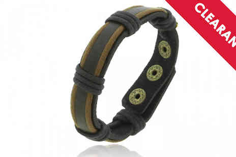 Jewellery Bank - Mens Faux Leather Bracelet with Free Delivery - Save 30%