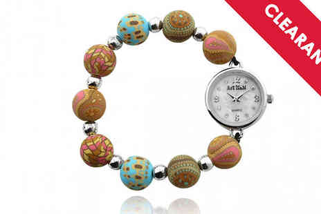 Jewellery Bank - Artisan Beaded Watch with Free Delivery - Save 77%