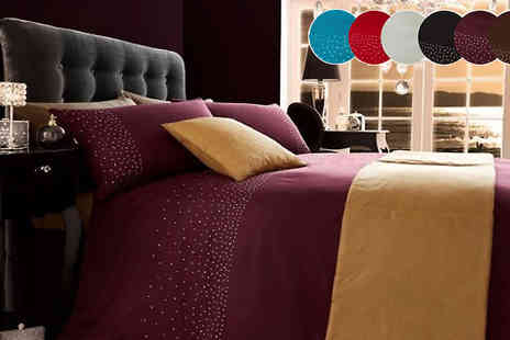 luxury bed and warehouse - Luxury Diamante 5 Piece Duvet Set in 5 Colours - Save 54%