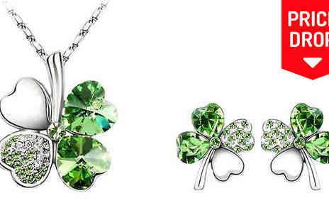 Crazee Trend - Four Leaf Clover Necklace & Earrings in 5 Colours - Save 92%