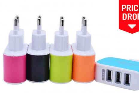 Hawt Online - Multifunctional 3 Port USB Travel Adaptor in 5 Colours - Save 76%