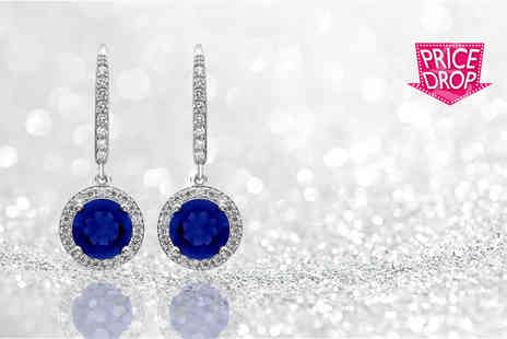GameChanger Associates - Pair of 18k white gold plated and brilliant cut blue simulated sapphire drop earrings - Save 93%