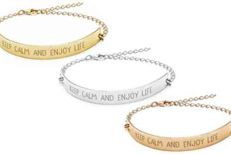 Jewells House - Personalised Nameplate Bar Bracelet With Free Delivery - Save 64%