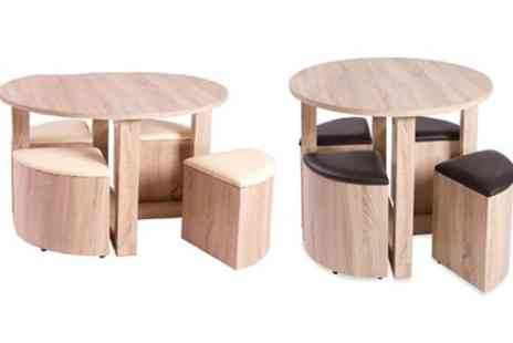 Groupon Goods Global GmbH - Bedford Dining Table and Four Stowaway Chairs Set With Free Delivery - Save 71%