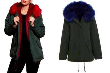 Groupon Goods Global GmbH - Womens Coloured Fur Trim Parka With Free Delivery - Save 0%