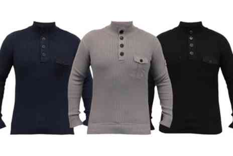 Groupon Goods Global GmbH - Mens Crosshatch Knitted Jumper With Free Delivery - Save 0%