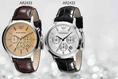 Wristy Business - Mens Emporio Armani black AR2432 or brown AR2433 watch - Save 49%