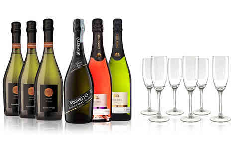 San Jamon - Six piece fine sparkling wine collection and six champagne flutes - Save 43%