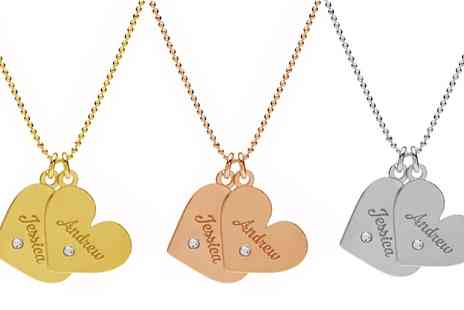 Jewells House - Engraved Double Heart Necklace with Crystals from Swarovski With Free Delivery - Save 75%