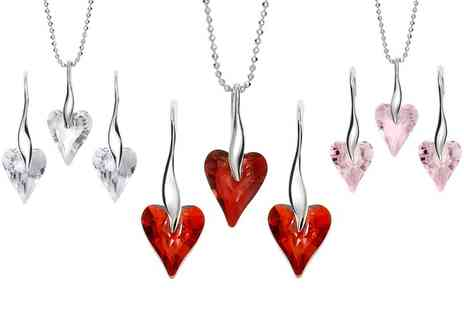 Jewells House - Long Heart Earrings, Necklace or Set Free Delivery - Save 70%