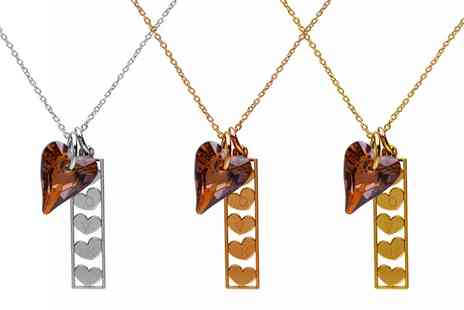 Jewells' House - Five Hearts in Rectangle Necklace With Free Delivery - Save 79%
