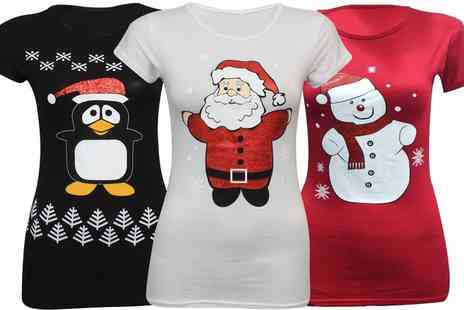 Groupon Goods Global GmbH - Womens Novelty Christmas Printed Christmas T Shirt - Save 0%