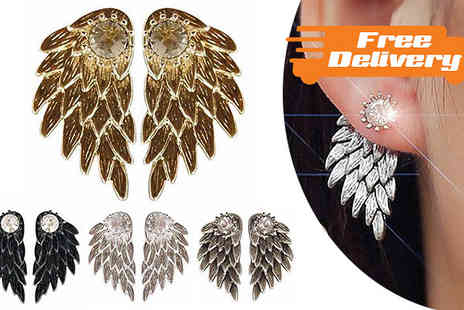 Marcus Emporium - Angel Wing Stud Earrings in 4 Colours - Save 70%