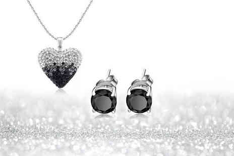 Evoked Design - Black and white ombre heart necklace and earrings set choose from black or crystal studs - Save 88%
