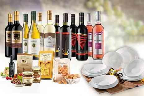 Giordano Wines - Italian hamper including 12 bottles of wine, delicious food and a 12 piece dinner set plus Free Delivery - Save 59%