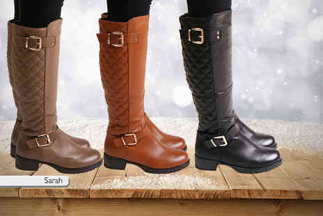 MY UL - Pair of Sarah or Deena knee high boots choose from three colours - Save 64%