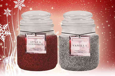 ugoagogo - Set of Two Christmas Glitter Jar Scented Candles - Save 60%