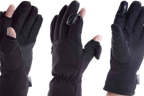 Easy Off Gloves - Unisex Photography Fold Back Finger Tip Gloves with Zip Pocket For Memory Cards Four Sizes - Save 0%