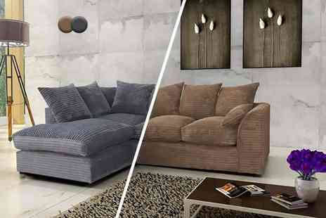 Abakus Direct - Luxury corner sofa choose from two designs in brown or grey - Save 57%