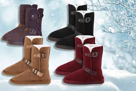 Evaniy Accessories - Pair of merino wool buckle boots choose from two colours - Save 75%