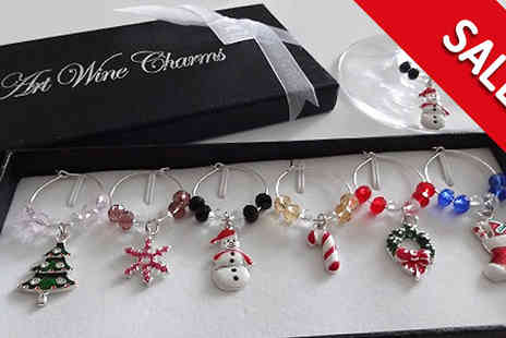 Orchid Deal - Six Christmas Themed Wine Glass Charms - Save 0%