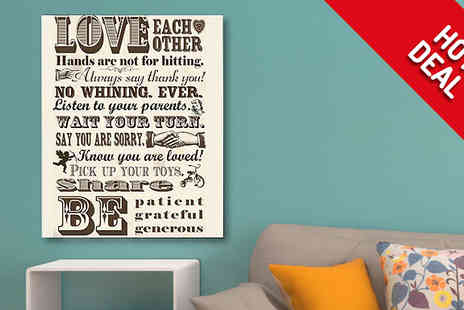 Castel Canvas Prints - Family Rules Canvas Print 20 x 12in - Save 36%