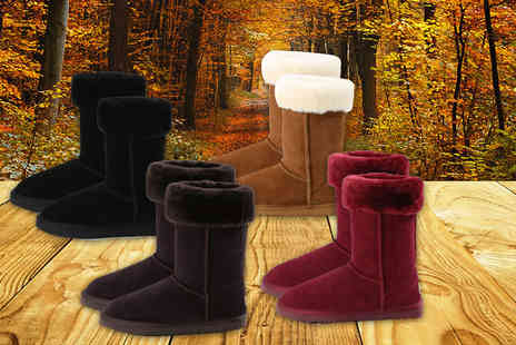 Evaniy Accessories - Pair of ladies sheepskin collar boots - Save 71%
