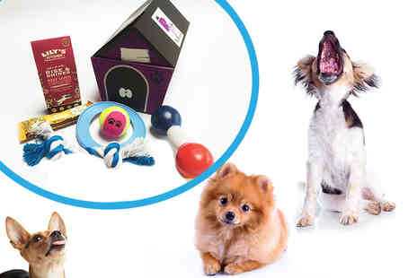 Pet Presents -Toy and treat five item surprise hamper for dogs - Save 56%