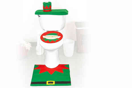 UK Home and Garden Store - Christmas elf toilet seat cover, bathroom rug and toilet tank - Save 65%