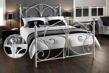 Limitless Base - Crystal double bed frame with ornate headboard and crystal bed knobs - Save 79%